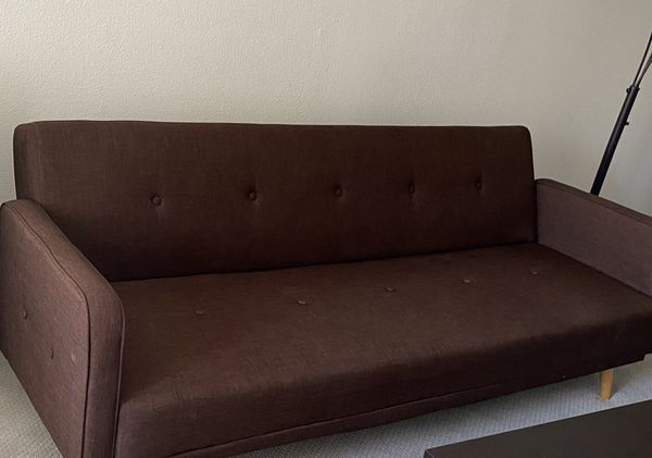 Futon Sofa Bed Sleeper Convertible Couch 3 Seat Foldable Full Size , Dark brown
