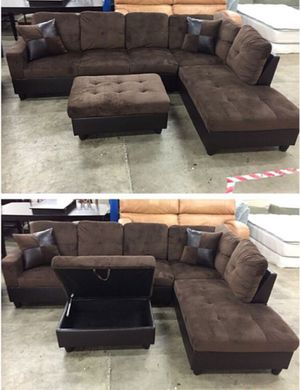 NEW brown sectional couch with ottoman and two free pillows, on sealed box, unopened DELIVERY for Sale in Portland, OR