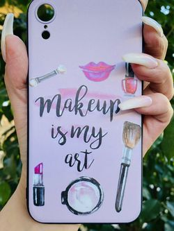 Brand new cool iphone XR case cover silicone rubber MAKEUP LIPSTICK LASHES Girls Womens Pretty for Sale in San Bernardino,  CA