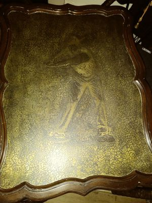 Antique solid brass butter table with engraved golffer on it for Sale in Salt Lake City, UT