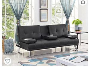 Convertible Folding Futon Sofa Bed for Compact Living Space, Apartment, Dorm, Bonus Room w/Removable Armrests, Metal Legs, 2 Cupholders for Sale in Whittier, CA