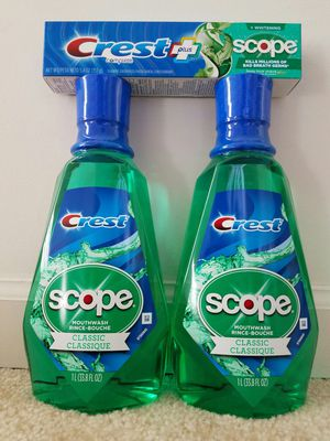 Crest with scope LARGE 1L mouthwash and toothpaste bundle - $10 price firm for Sale in Rockville, MD