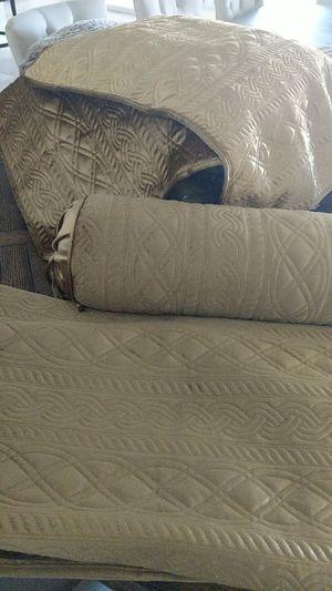 Velvet gold throw blanket, bolster pillow and 2 shams for Sale in Las Vegas, NV