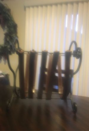Wrought Iron and Leather Magazine Rack $5 for Sale in Las Vegas, NV