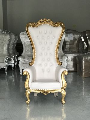 Free nationwide delivery | Gold leaf throne chairs king queen princess royal baroque wedding event party photography hotel lounge boutique furniture for Sale for sale  Atlanta, GA