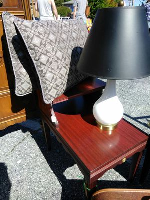 White Glass Lamp & Silver Pillows for Sale in High Point, NC