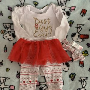 Best Gift Ever, Christmas Set For Baby Girl, 6 Months, Clothes For Infant for Sale in Fort Lauderdale, FL