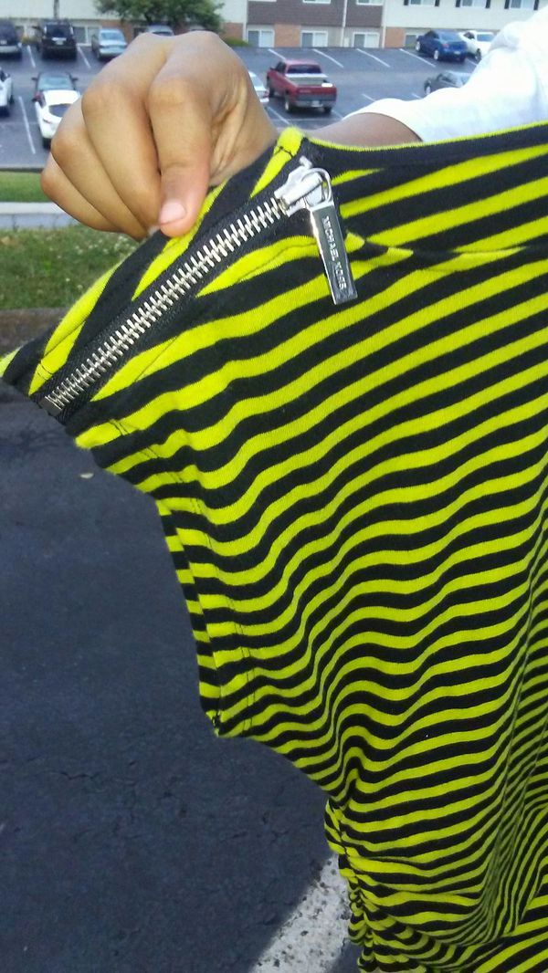 Michael Kors Green and Black Stripe Shirt