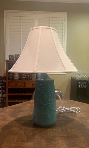 Vintage glass turquoise table lamp for Sale in Moreno Valley, CA