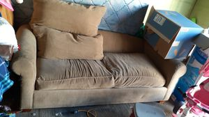 Nice comfy couch normal wear one little hole burn was there when I bought it 80$ obo for Sale in Atwater, CA