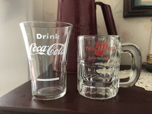Two small (3.75) soda collectible glasses. Coca Cola and Twin KISS for Sale in Ridley Park, PA