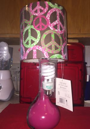 Glass peace sign accent lamp for lil girls room. New. for Sale in Fresno, CA