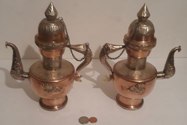 """Vintage Set of 2 Metal Copper, Brass and Silver Tea Pots Set, 10"""" Tall, Dragons, Kitchen Decor, Table Decor, Shelf Display for Sale in Lakeside,  CA"""