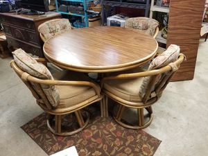 Bamboo Table with a leaf and 4 swivel chairs. Reconditioned for Sale in Portland, OR
