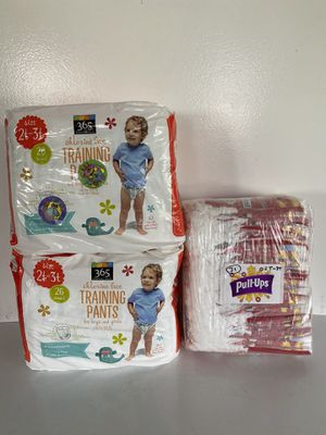 2 bags of 365 Everyday Value and 1 bag Huggies Training Pants Size 2T-3T, 83 diapers in total for Sale in Everett, WA