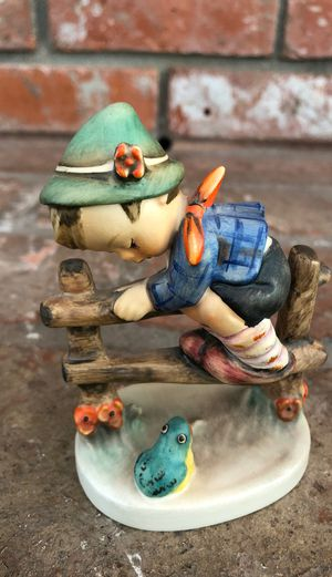 """Hummel Figurine Antique """"Retreat to Safety"""" Boy on Fence with Frog 1948 Germany for Sale in San Diego, CA"""