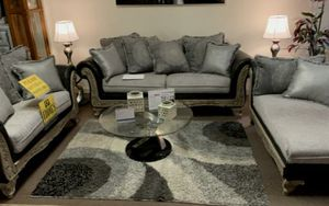 Beige Wood And Black Leather Lving Room Set (sofa And Loveseat) for Sale in Lemoyne, PA