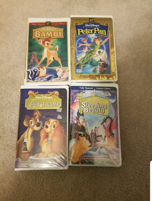 Walt Disney Masterpiece Collection 4 VHS lot! 4673, 9511, 12730, 9505.  Pre-owned but good shape! for Sale in Dallas, GA