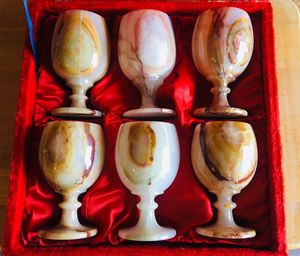 """Six Marble Goblets with carry case 6"""" tall for Sale in Glendale, AZ"""