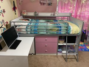 Pink and white bunk bed with desk and storage-twin for Sale in Redmond, WA