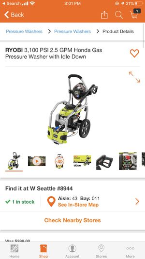Ryobi pressure washer for Sale in Seattle, WA