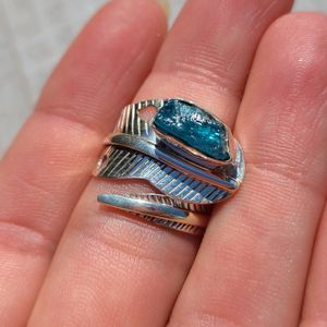 Eagle Feather - Neon Blue Apatite - Madagascar 925 Ring for Sale in San Francisco, CA