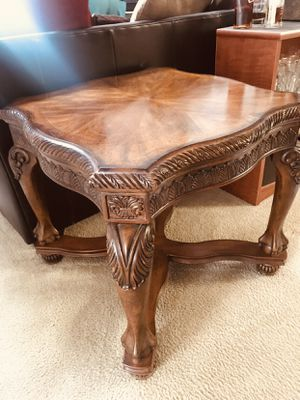 Claw foot solid wood marble top end table and coffee table all together three pieces for $250 ~ Very strong and sturdy! for Sale in Freehold, NJ