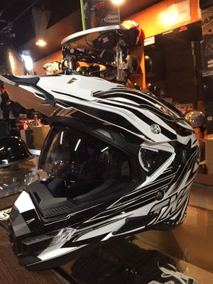 New black and white off road dirt bike motorcycle helmet with sunglasses $90 for Sale in Santa Fe Springs, CA