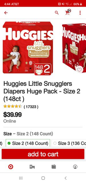 Huggies little snuggles size 2 baby diapers for Sale in Placentia, CA