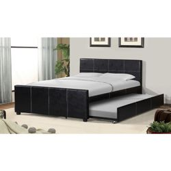 Full Size Faux Leather Platform Bed Frame With Twin Size Trundle for Sale in Pomona,  CA
