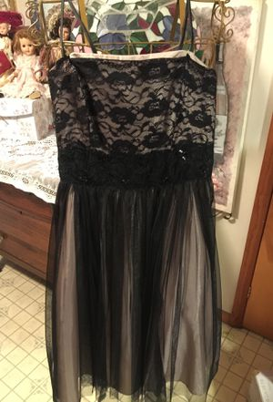 Pretty Princess style dress black-lace over Taupe satin fabric the waist sash that's sequins and embroidery bottom pleated with tulle sheer black f for Sale in Northfield, OH