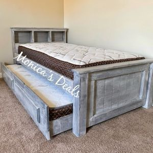 Twin Solid Wood Bed & Twin Trundle + 2 Mattresses $520 for Sale in Downey, CA