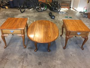Broyhill oak coffee table and end tables set for Sale in Harrisburg, PA