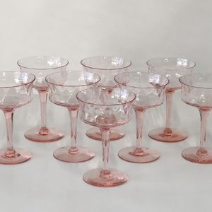 8 Pink Optic Depression Glass Champagne Coupes for Sale in Corona, CA