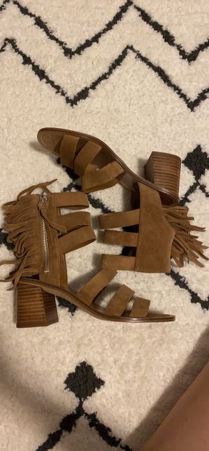 Marc Fisher Tan Suede Heel with Fringe, 6.5 for Sale in National City, CA