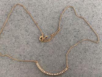 Smile Pendant Necklace Gold-Tone w/ Imitation Diamonds Costume Jewelry for Sale in Garden City,  NY