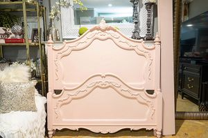 Blush Pink Floral Ornate Full Size Bed Frame for Sale in Azusa, CA