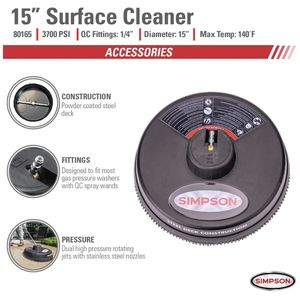"""Simpson Cleaning, Rated Up to 3700 PSI Universal 15"""" Steel Surface Scrubber - Like New for Sale in Painesville, OH"""
