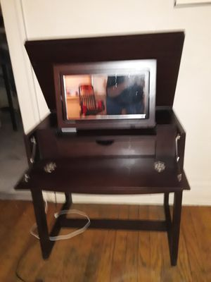 Dark wood vanity with mirror for Sale in Chicago, IL