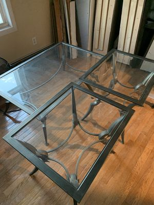 Matching cast iron coffee table and two end tables for Sale in Boston, MA