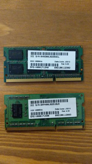 1x2GB 1x1GB DDR3 SODIMM laptop RAM for Sale in Dallas, TX