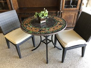 Bistro table and chairs like new and only used for staging a small covered patio for Sale in Payson, AZ
