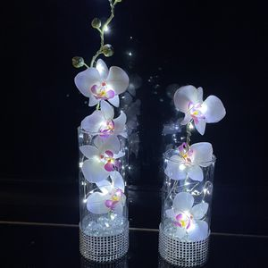 Silk Orchids Glass Vase Led Lights for Sale in Reston, VA