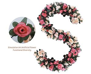 6pcs 49 FT Rose Vine Flowers Plants - Artificial Flower Fake Flowers Rose Vine Ivy Garlands Hanging for Wedding Party Garden Wall Decoration Silk Flo for Sale in Rialto, CA