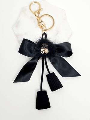 Tassel and bow keychain bag charm - black for Sale in Baldwin Park, CA