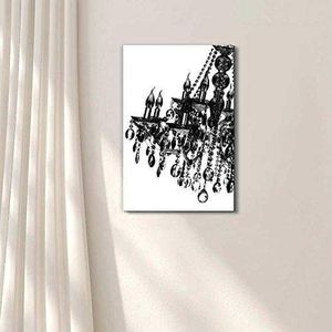 ((FREE SHIPPING)) Canvas wll art - black crystal chandelier on white background - giclee print and stretched ready to hang Painting like print for Sale in Hillsborough, CA