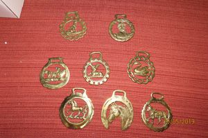 Set of 8 vintage horse brass medallions for Sale in Reading, PA