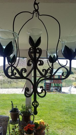 Wrought iron hanging candle holder large for Sale in Wildomar, CA