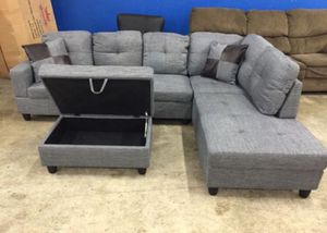 Gray sectional couch linen NEW on box never open, Never Used, With ottoman and two pillows DELIVERY for Sale in Portland, OR