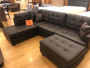 Expresso sectional sofa with ottoman for Sale in Dallas, TX